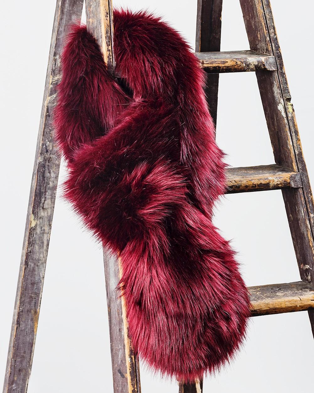 Faux Fur Loop Scarf in Burgundy