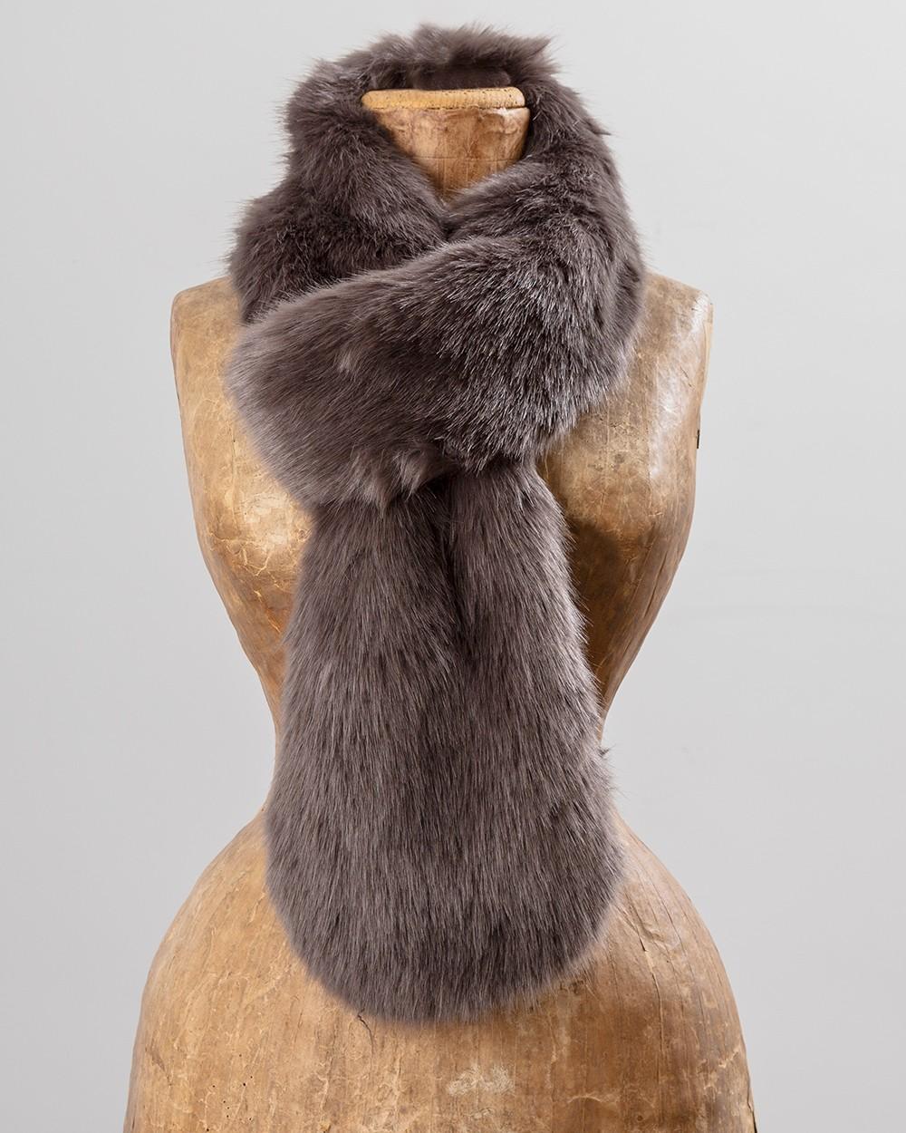 Faux Fur Loop Scarf in Steel Grey