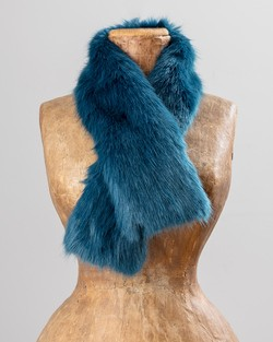Faux Fur Tippet in Petrol Blue