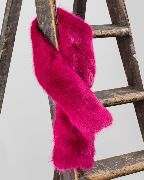 Faux Fur Tippet in Magenta