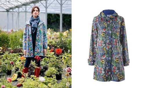 Hoodie Rain Mac in Meadow Print