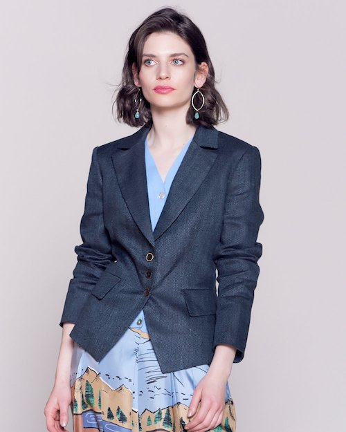 Linen Short Jacket in Navy
