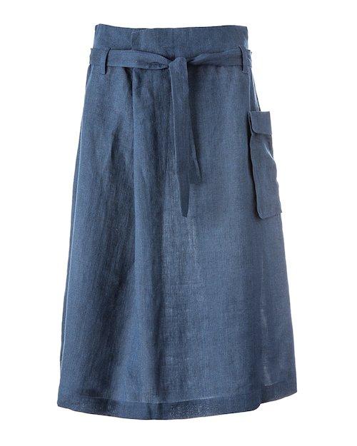 Navy Linen Skirt