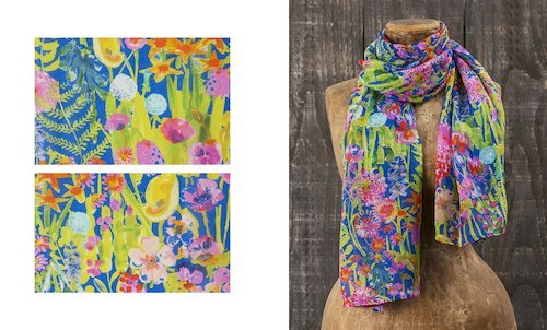 Liberty Print Chiffon Scarf in Hampton Wedding Print
