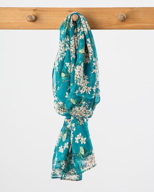 Liberty Print Silk Chiffon Scarf in Blue Lilac