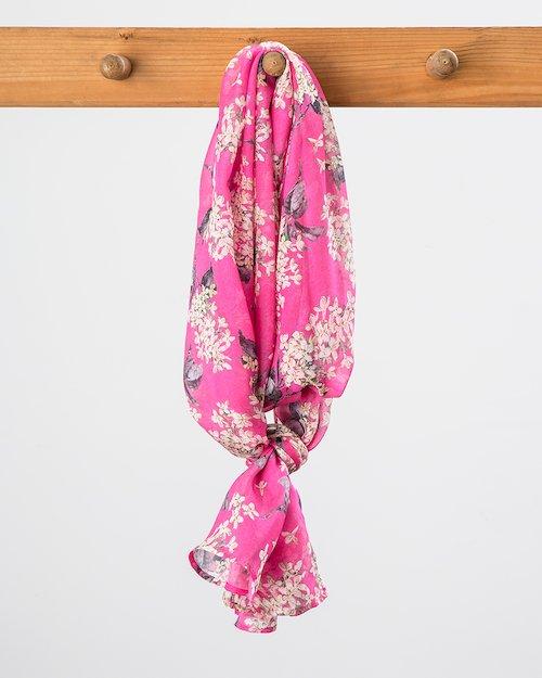 Liberty Print Silk Chiffon Scarf in Pink Lilac