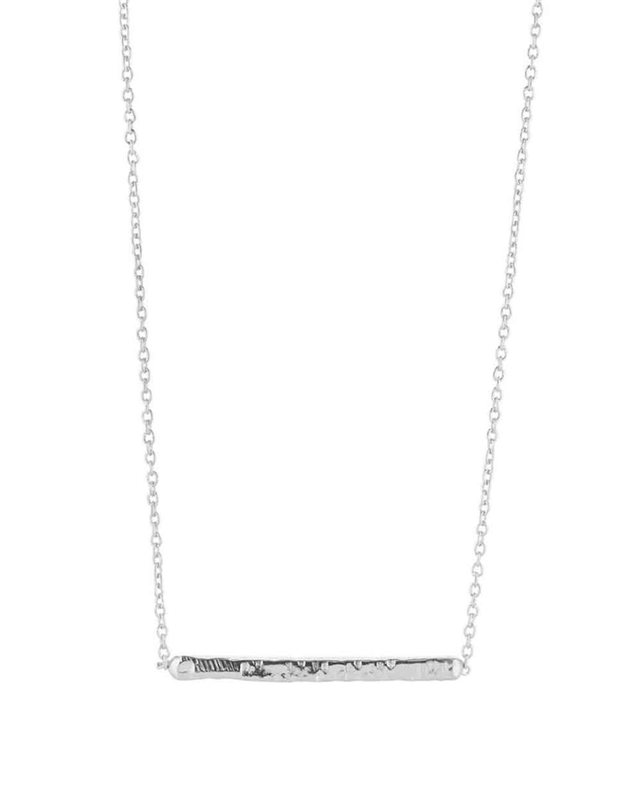 Short Silver Hammered Bar Necklace