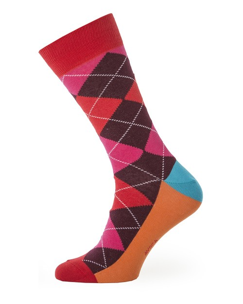 Men's Argyl Cotton Socks in Red and Pink