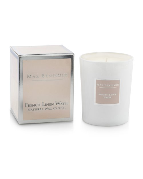French Linen Water Scented Candle by Max Benjamin