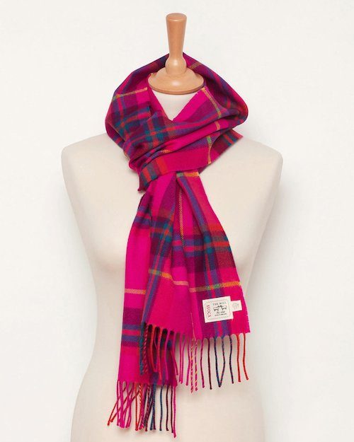 Hot Pink Check Merino Scarf