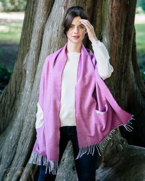 Merino Wool Pocket Wrap in Wine