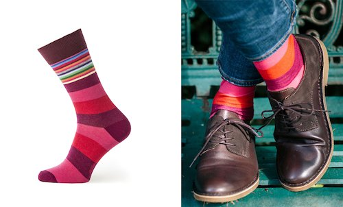 Men's Multi Stripe Socks in Plum