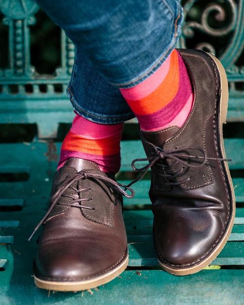 Men's Multi Stripe Socks in Plum