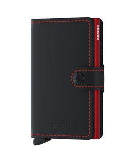 Matte Leather Mini Wallet - Black & Red