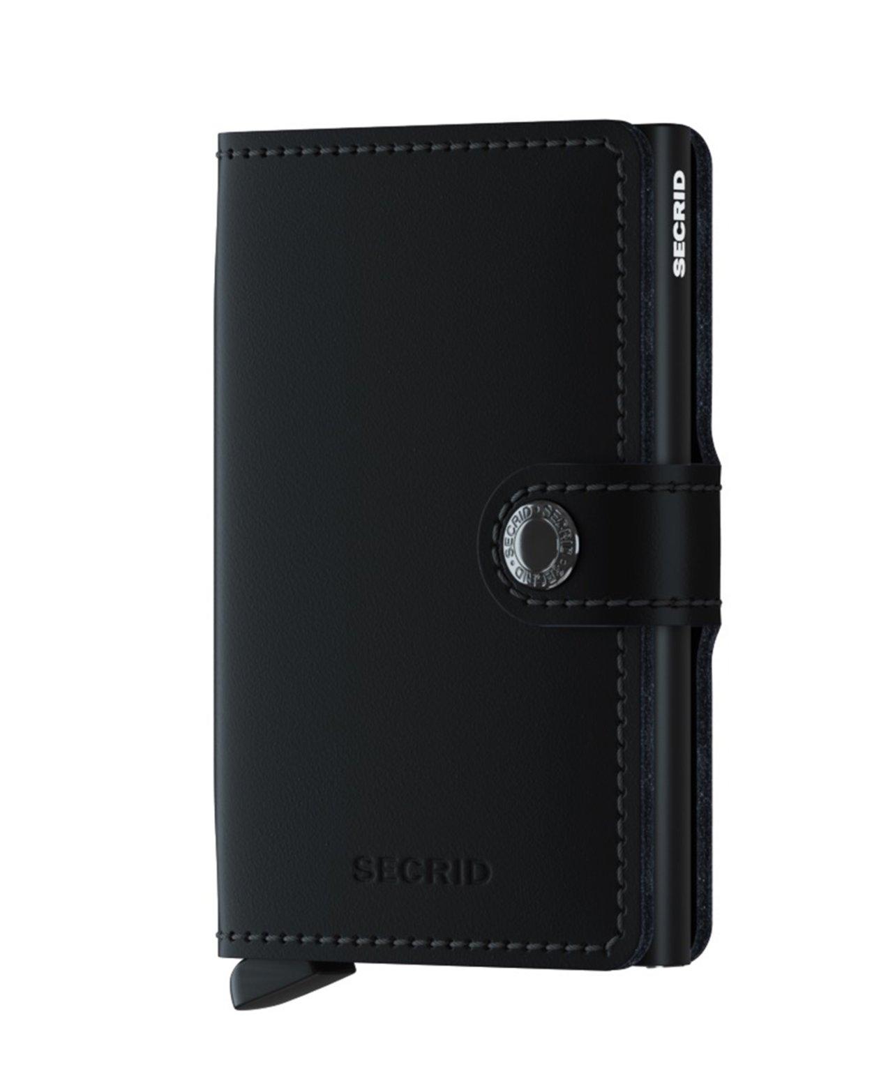Matte Leather Mini Wallet - Black