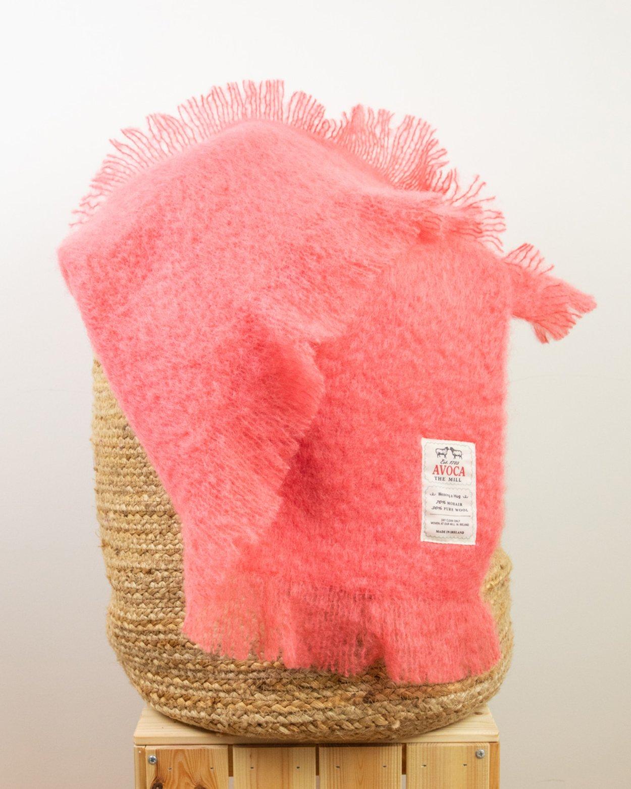 Coral Mohair Throw