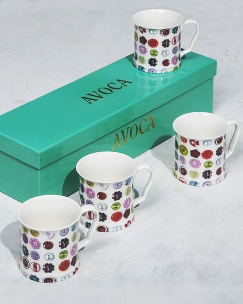 Set of Four Button Mugs