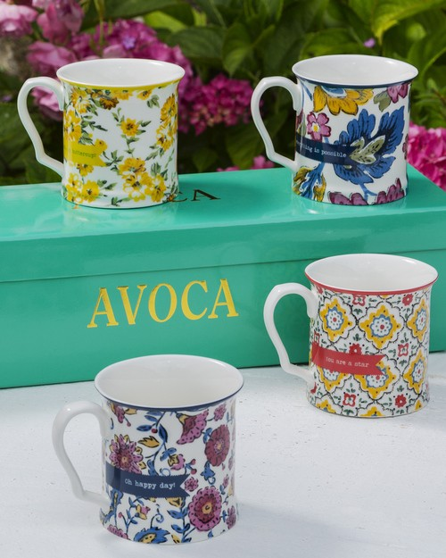 Set of Four Flower Mugs
