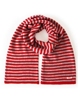 Park Cashmere Wool Blend Knitted Scarf in Red & Grey