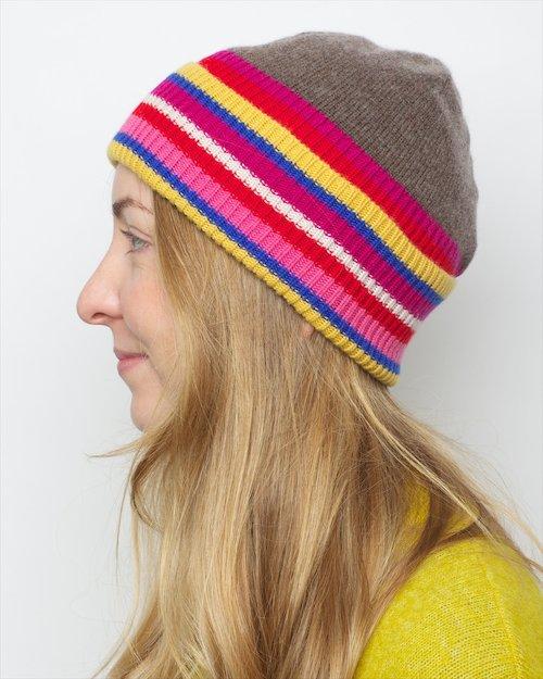 Cashmere Blend Centre Stripe Hat