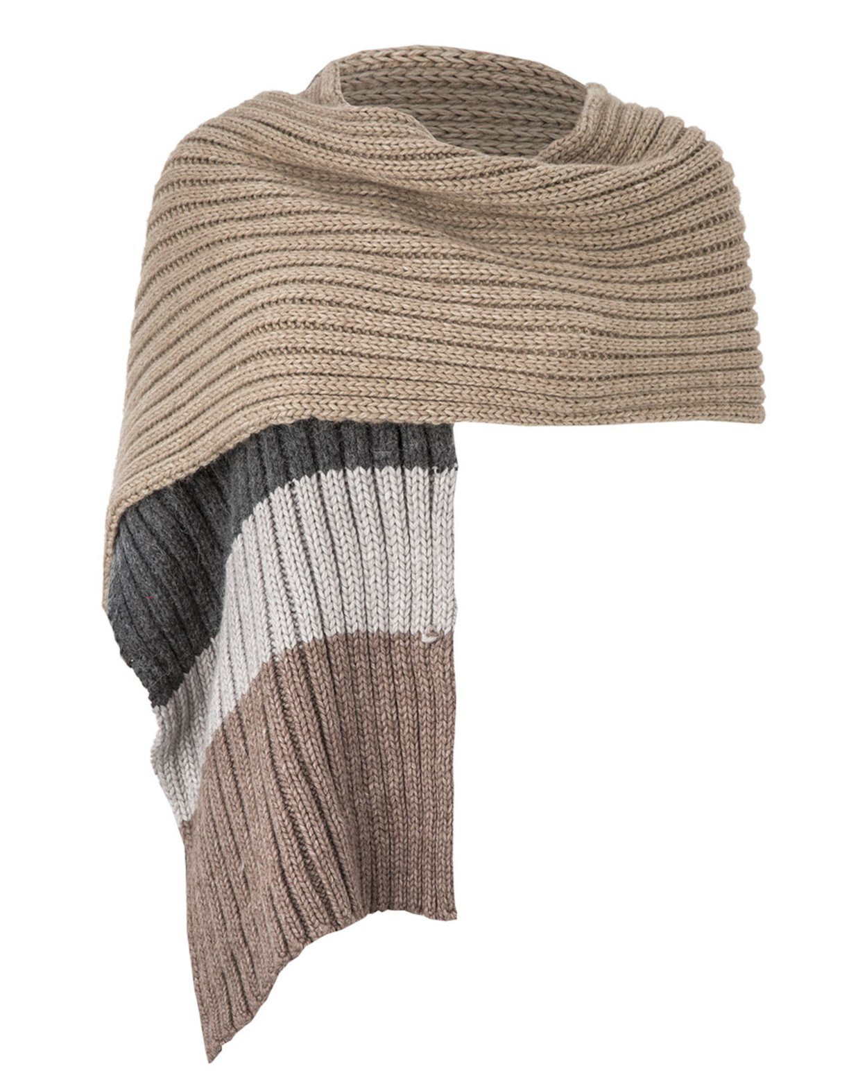 Chunky Stripe Scarf in Grey & Brown