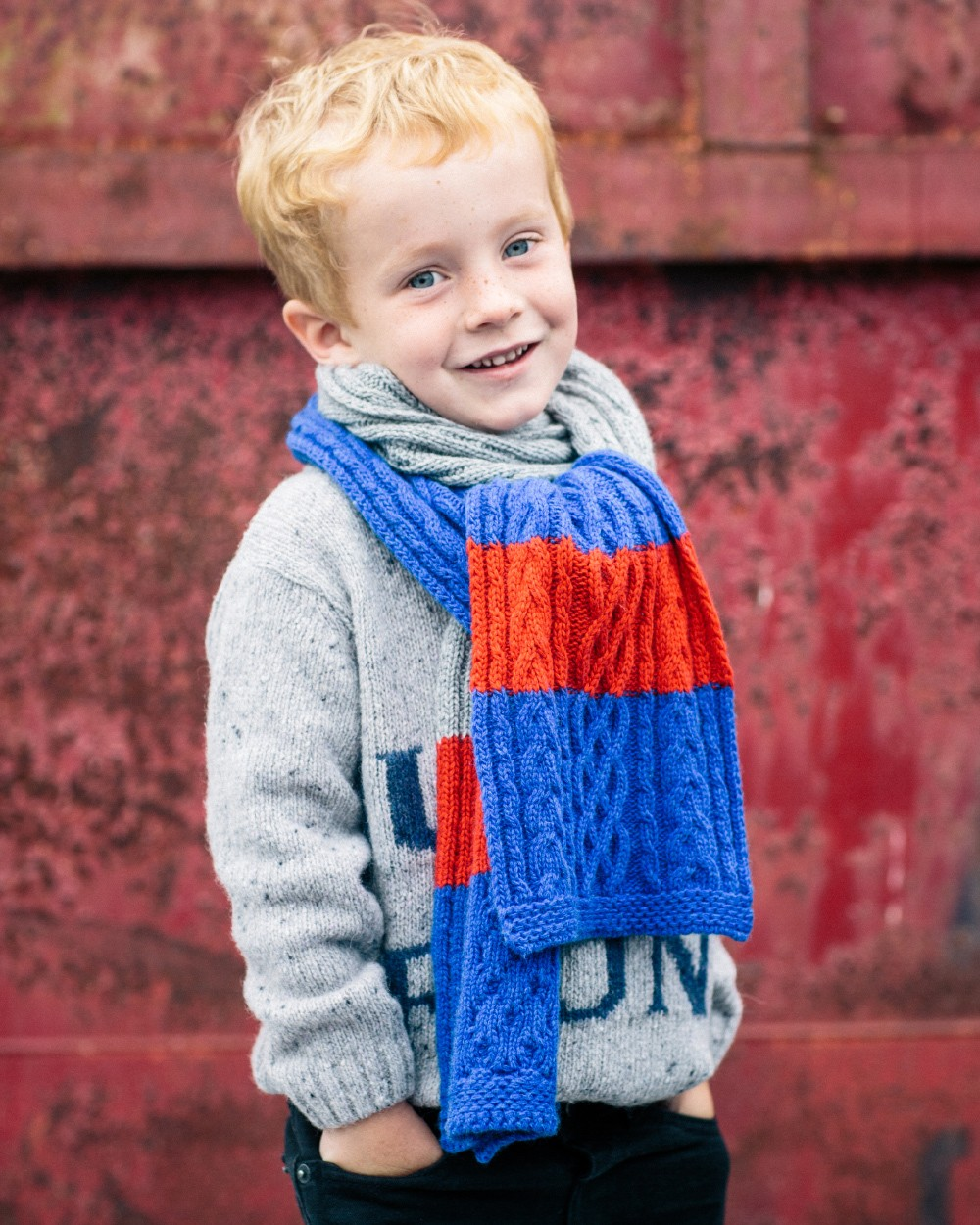 Cable Knit Scarf in Red, Blue and Grey
