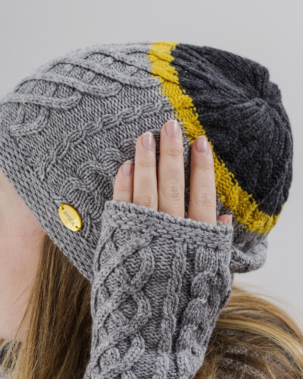 Aran Knit Beanie in Grey and Yellow
