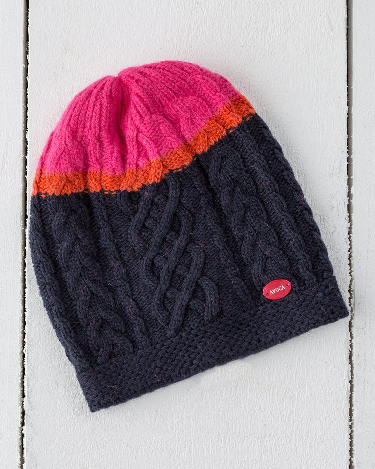 Aran Knit Beanie in Navy and Neon