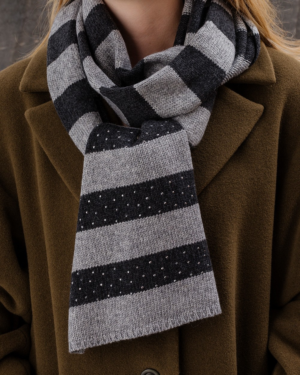 Sparkle Stripe Scarf in Navy and Grey
