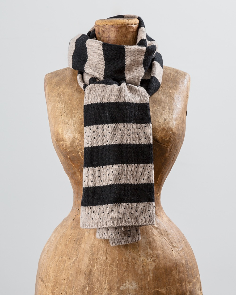 Sparkle Stripe Scarf in Camel and Black