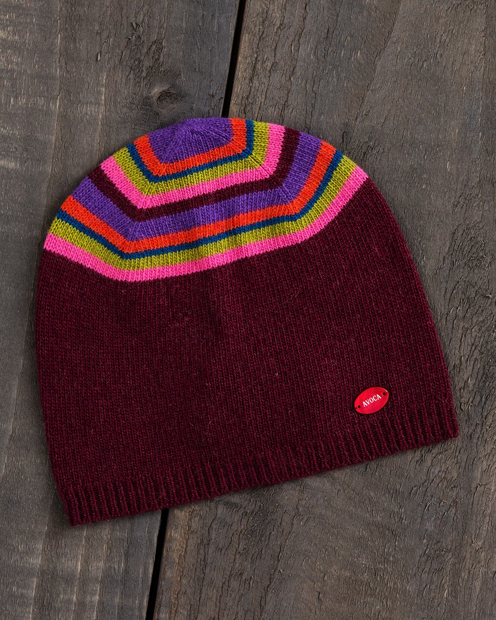 Jewel Stripe Beanie in Wine