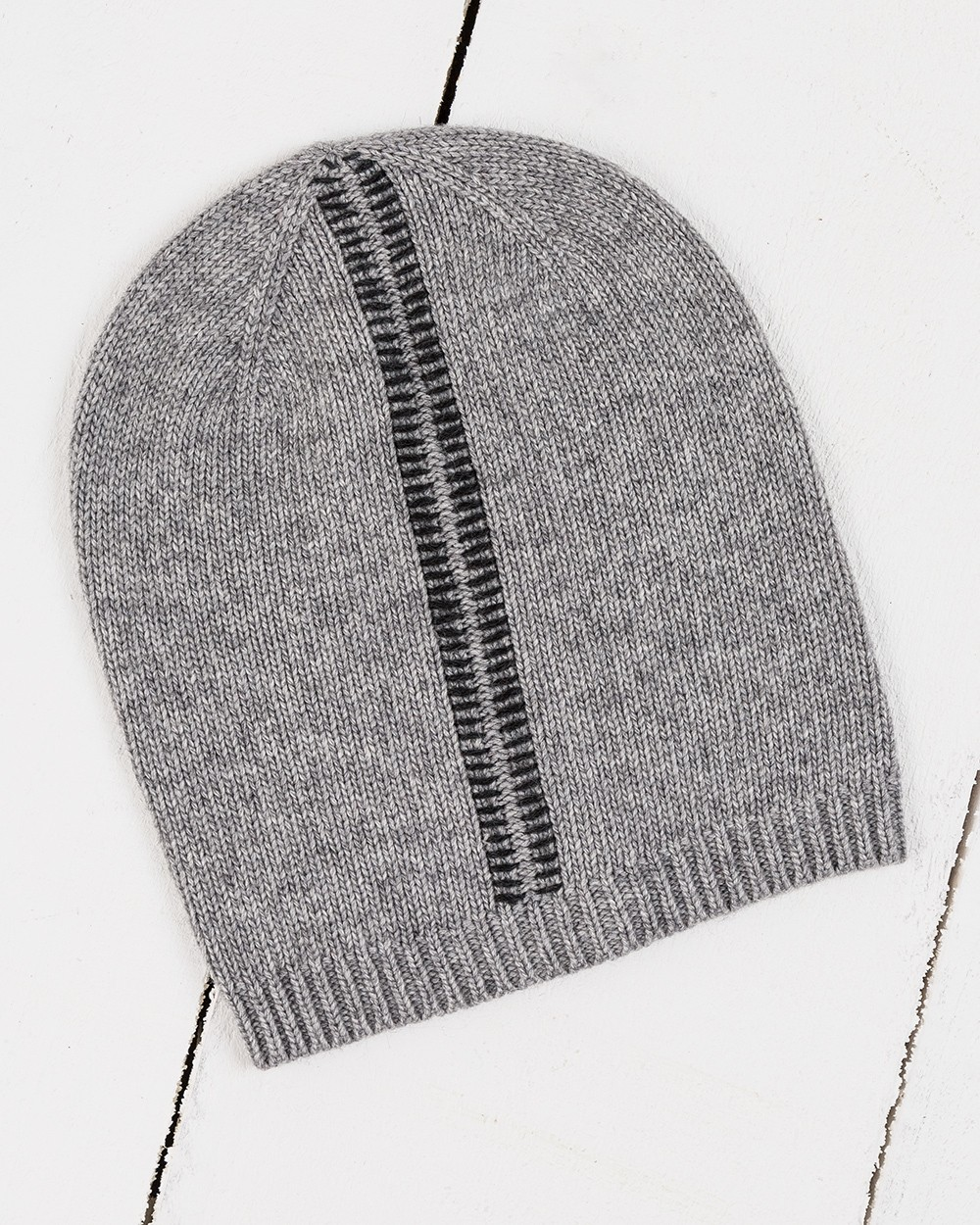 Blanket Stitch Beanie in Grey