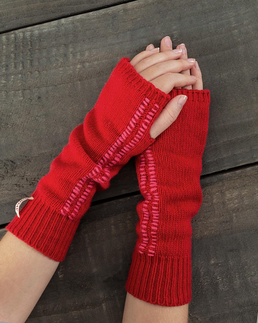 Blanket Stitch Cuffs in Red