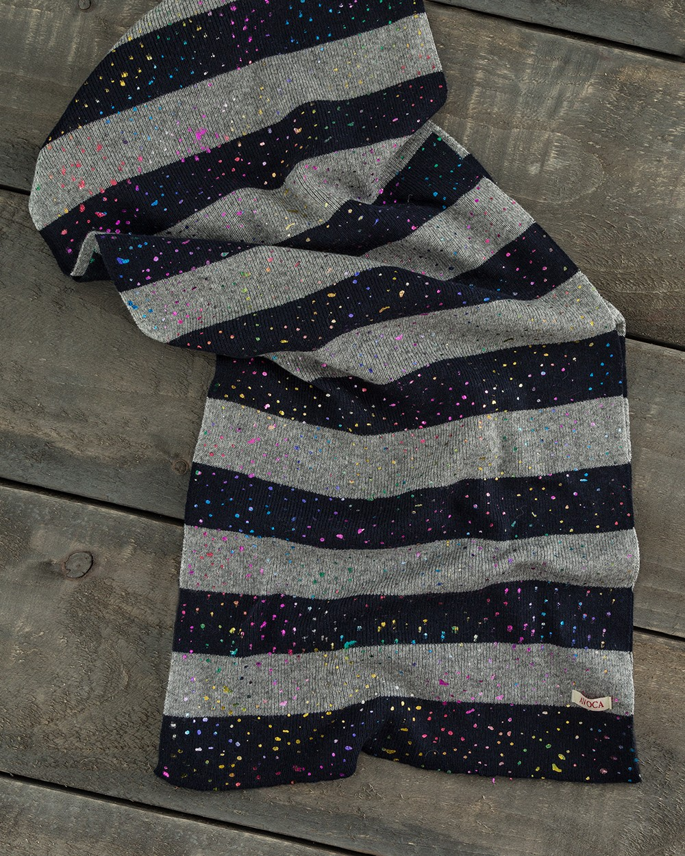 Striped Scarf with Rainbow Fleck