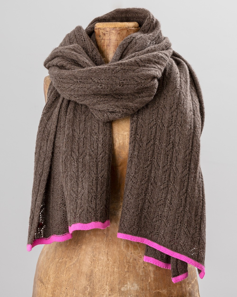 Neon Trim Scarf in Brown and Pink