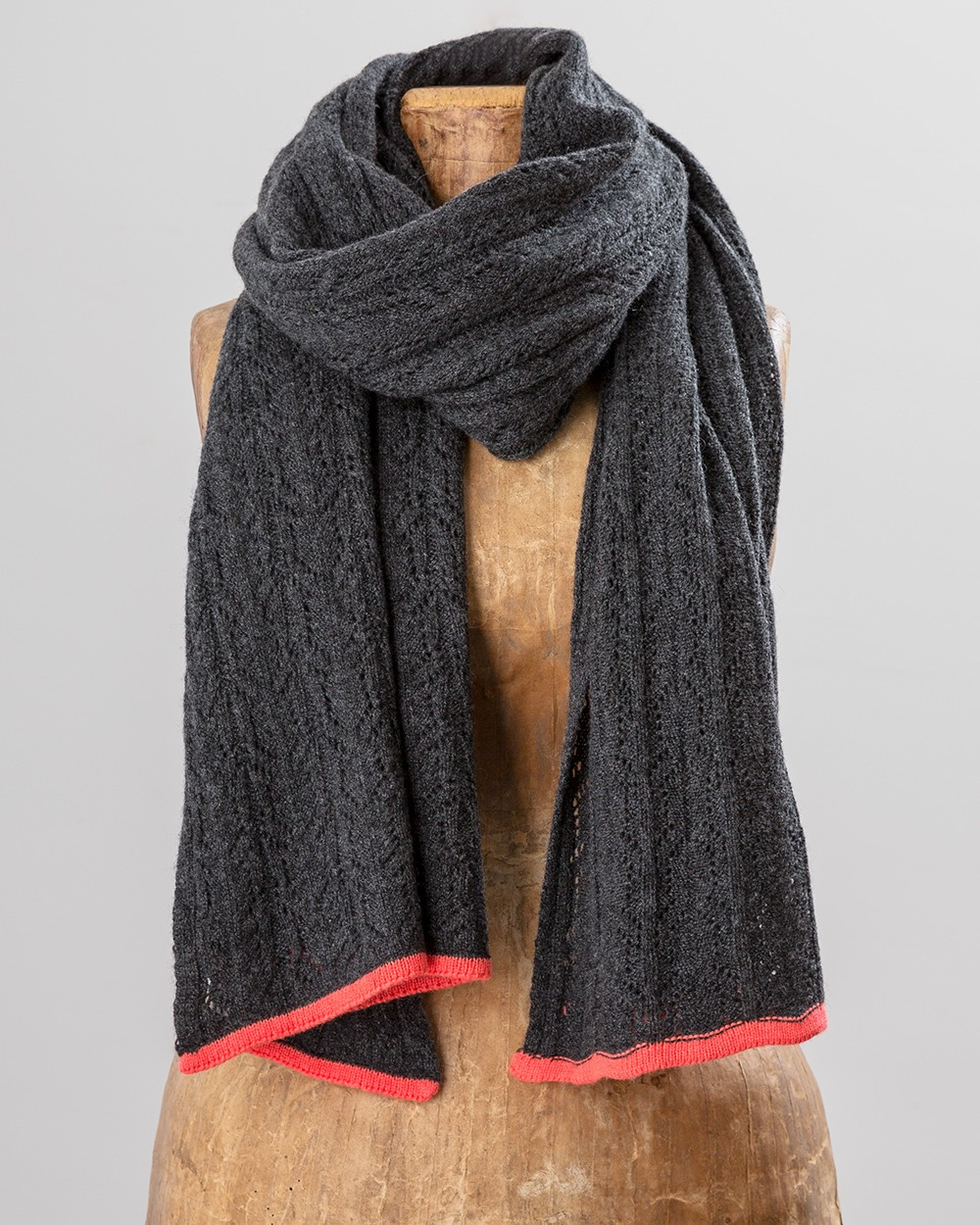 Neon Trim Scarf in Grey and Orange