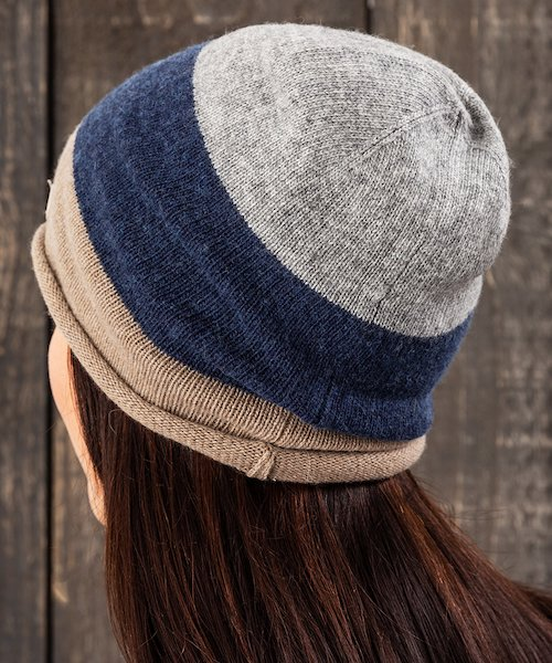 Cashmere Blend Square Blocks Beanie