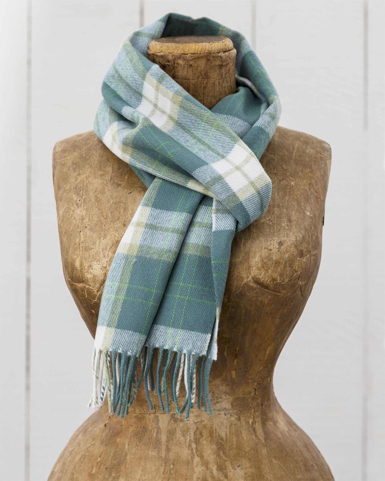 Merino Scarf in Green Check