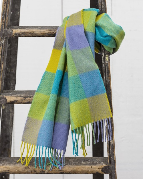 Merino Scarf in Lime Check