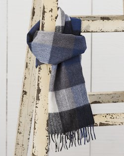 Merino Scarf in Navy and Grey Check