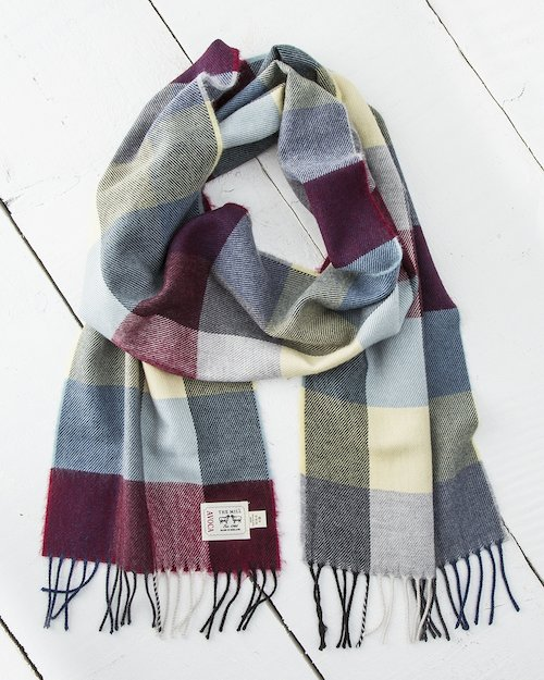 Wine and Grey Check Merino Scarf