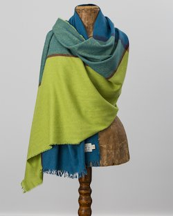 Gracie Stole in Blue and Lime