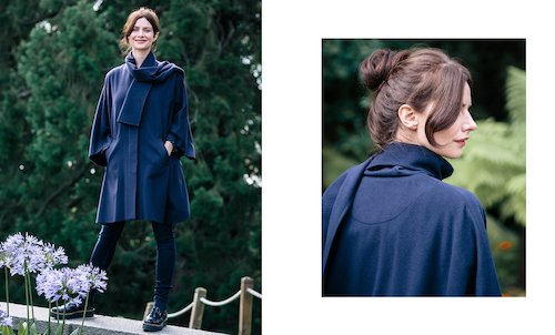 Cashmere Blend Berry Cape in Navy