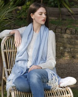 Cashmere Wool Sandymount Scarf in Powder Blue