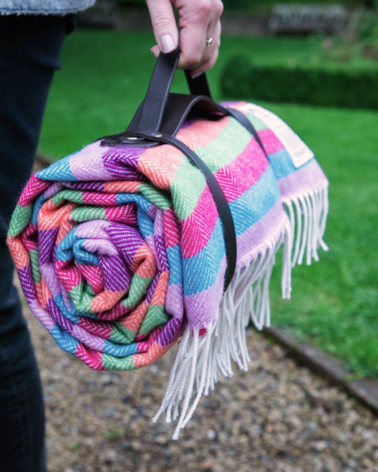 Electric Stripe Lambswool Picnic Blanket