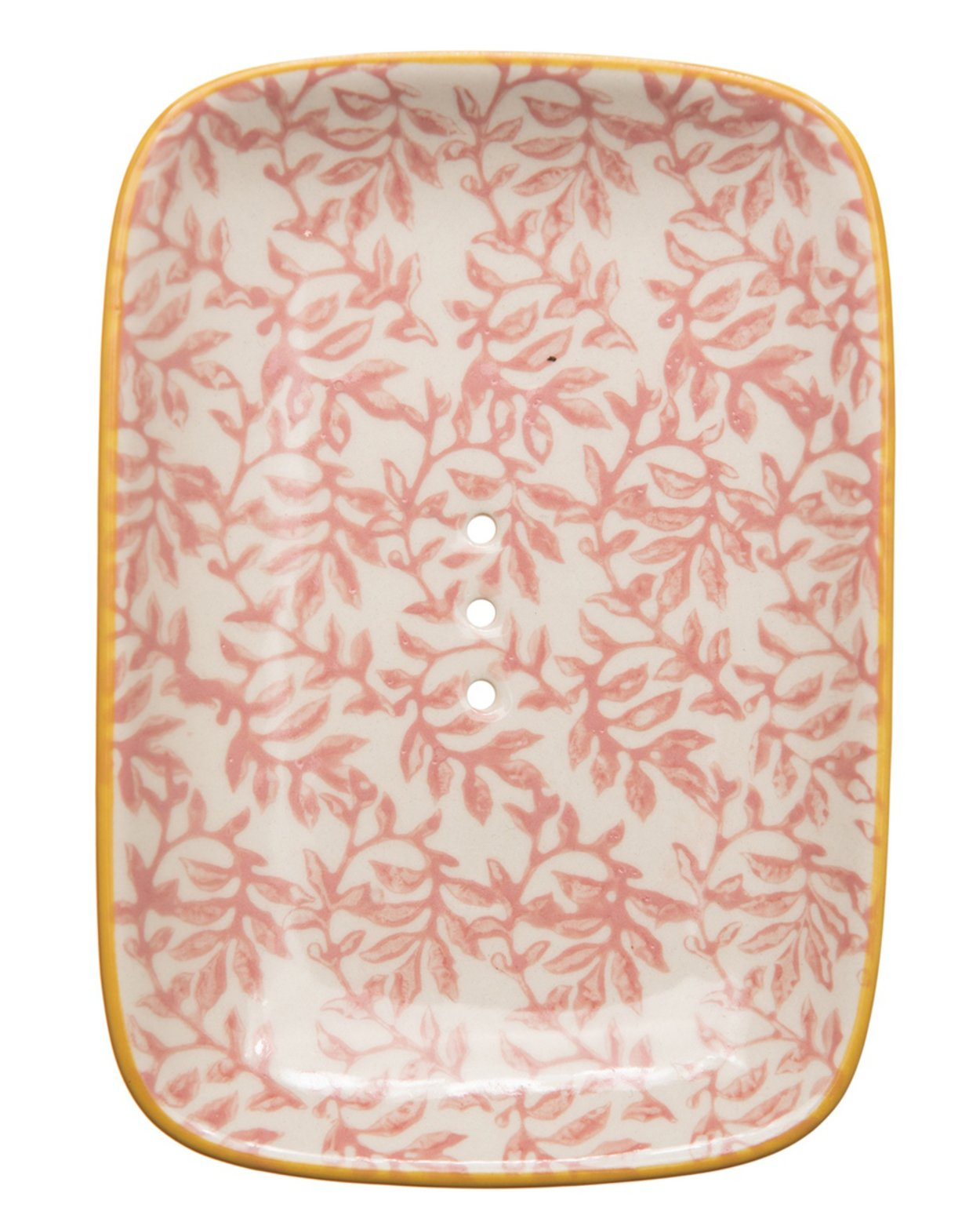 Soap Dish - Floral White & Pink