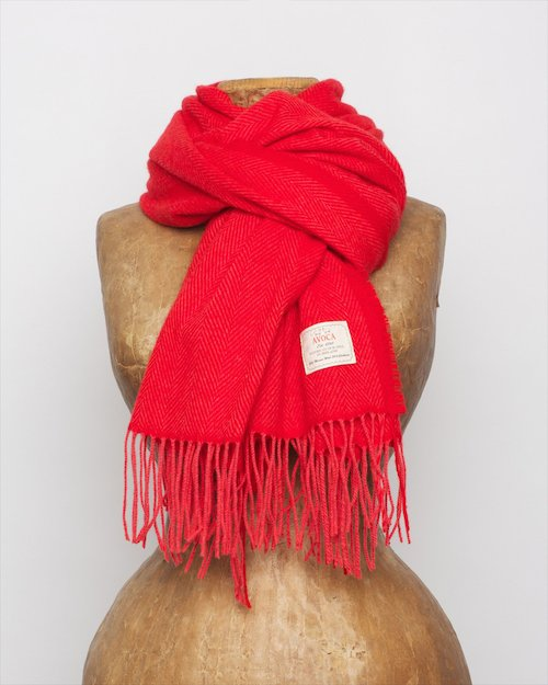 Cashmere Wool Sandymount Scarf In Red and Coral
