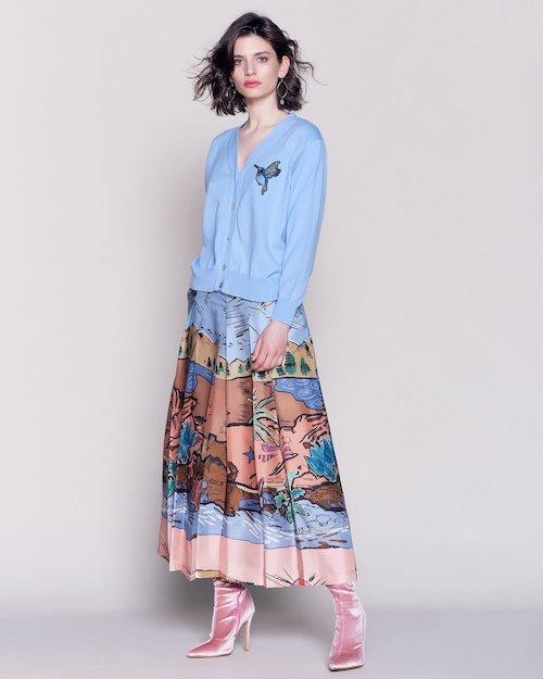 Silk Dessert Print Skirt