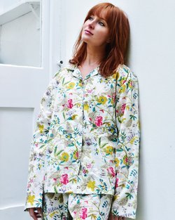 Cotton White Leaf Floral Pyjamas