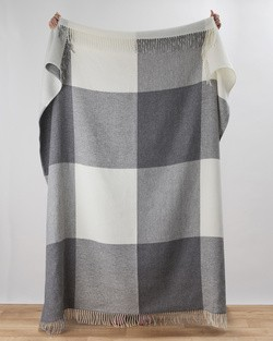 Stella Cashmere Throw in Grey Check
